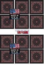 12 Made in USA Rosso Nero Bandana Motivo Cachemire Sciarpa Fascia per  Capelli 572c7a8b5629