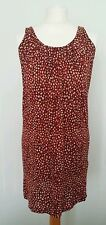 H & M Red Beige Black Animal Print Casual Loose Racer Cross Back Dress Size S