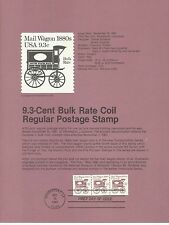 1981 U. S. USPS one Souvenir Page Scott 1903 9.3 Cent Bulk Rate Coil Regular