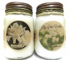COMBO Gardenia and Lily of the Valley Set of Two 16oz Country Jar All Natural So