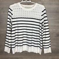 LOFT Women Size XL Knit Sweater White Black Striped Long Sleeve 100% Cotton