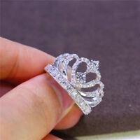 Luxury Cubic Zirconia Silver Crown Ring Wedding Engagement Bridal Jewelry Sz 6-9