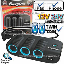 Energizer 50505 12 V 24 V TWIN usb auto accendisigari triplo Multi Presa Adattatore Caricabatterie