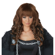 Womens Warrior Queen Medieval Brunette Wig