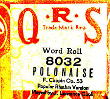 QRS Word Roll Chopin POLONAISE Op. 53 Rhythm Version Cook 8032 Player Piano Roll