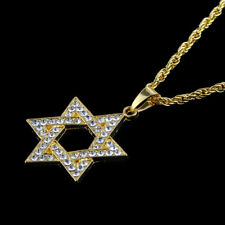 Unisex Hip Hop Gold Plated Rhinestone Paved Star of David Pendant Chain Necklace
