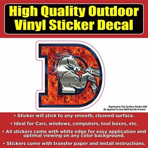 Denver Broncos D Flames Vinyl Car Window Laptop Bumper Sticker Decal