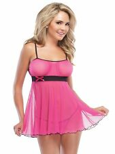Sexy Hot Pink Babydoll & String Negligee Lingerie Coquette Nightwear size 8-12