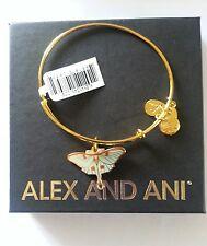 Alex and Ani LUNA BUTTERFLY Moth Bangle Bracelet NWT BOX CARD Gold Finish HTF