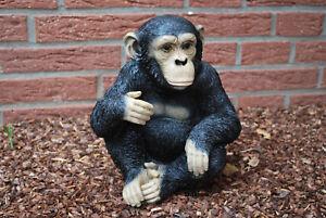 Schimpanse Affe Gartenfigur Standfigur Dekoration Tierfigur