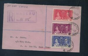 Basutoland   registered cover  1937  coronation  stamps