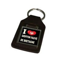 I Love My Dog Engraved Leather Keyring Griffon Fauve De Bretagne
