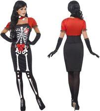 Halloween Sexy Skeleton Costume Day Of The Dead Women's Fancy Dress Bones