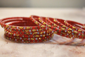 12 Red Indian Ethnic Glass Bangles Set