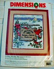 1997 DIMENSIONS CROSS STITCH KIT #8524 HOLIDAY WELCOME SIGN CARDINALS NEW SEALED