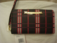 BETSEY JOHNSON BLACK/SMALL RED/PINK HEARTS  ZIP AROUND WALLET/WRISTLET NWT