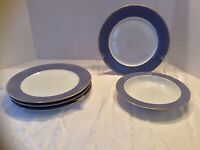 Block Spal Portugal Blue Skies Dinner Plates Lot Of 4 and 1 Wide Rimmed Bowl