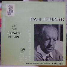 PAUL ELUARD GERARD PHILIPPE POETES D'AUJOURD'HUI  FRENCH EP DISQUES ADES