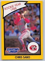1990  CHRIS SABO - Kenner Starting Lineup Card - CINCINNATI REDS  (Yellow)