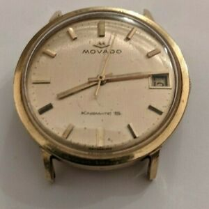 Extremely Rare Solid 18k Gold Movado Kingmatic S 34mm Watch Free Insure Shipping