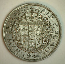 1947 New Zealand 1/2 Half Crown Coin XF
