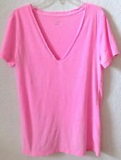 Womens Sz MEDIUM Pink Knit Top Merona S/S 100% Cotton V-Neck Pre-Owned