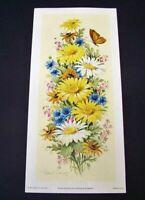 """Vintage Floral Art Print Litho 1972 Robert Laessig 11"""" x 5"""" Cunningham Signed"""