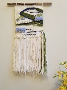 Woven Wall Hanging/Woven Wall Tapestry Weaving/Blue, Green, White Wall Decor NEW