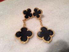 Double hanging motif onyx earrings