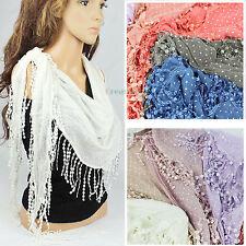 Fashion Womens Dot Print Lace Tassel Cotton Triangle Scarf Ladies Shawl Wrap New