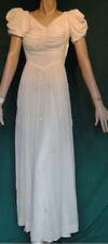 Vintage 30's Long Cream Flocked Flowers Bias Dress B34