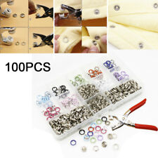 100 Set  Push Button Studs Open Ring With Pliers Clothes Parts Button DIY TP