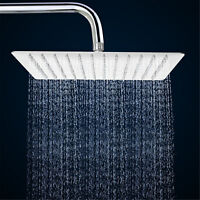12''Square Stainless Steel Rain Shower Head Chrome Bathroom Top Sprayer Faucet