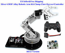 US Silver 6 DOF Alloy Robotic Arm Kit Clamp Claw+Servos+Controller Arduino