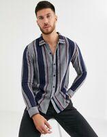 Native Youth Shirt Top Men's Size UK M Striped Soft Cotton Grey Long Sleeve GK72