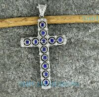 Blue Sapphire Gemstone Cross Pendant Pave Diamond 925 Sterling Silver Pendant OD
