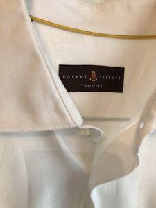 Robert Talbott Mens L White Linen Casual Button Up Shirt