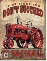 Farmall IH International Tractor Succeed Distressed Retro Vintage Metal Tin Sign