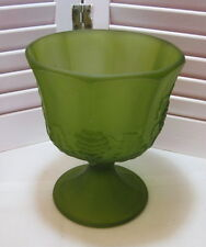 Vintage Colony Glass Frosted Harvest Green Pressed Grape Design Planter Compote