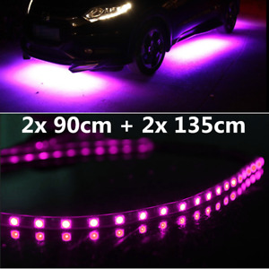 Car Under Body LED Light Strip Front+Rear+Side Decoration Lamps Purple Pink 4pcs