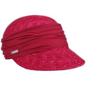 Seeberger Straw/Stoffcap Berry Red Summer Glare Cap Shield Hat