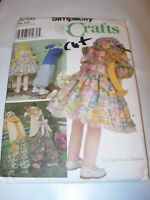 "CRAFTS CUT SIMPLICITY Sewing Pattern 8268 30"" BUNNY DOLL & CLOTHES HOME DECOR"