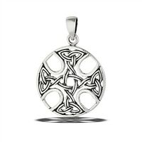 STERLING SILVER CELTIC CROSS WITH MULTIPLE TRIQUETRAS PENDANT without chain