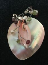 Beautiful Mother Of Pearl Heart Pendant,Pretty Stones & Pink Shell Decoration