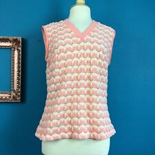 Vtg 70s top coral white open weave vee neck preppy golf tennis vibe