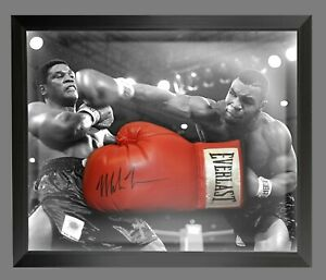 Mike Tyson Signed Red Everlast Boxing Glove Presented In A Dome Frame. : B