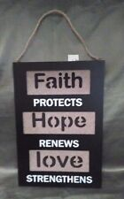 Inspirational Hope Faith Love Wall Hanging Decoration 13 Inches Long