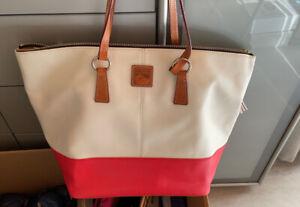 DOONEY & BOURKE 1975 Damentasche  Handtasche Ledertasche Beige rot