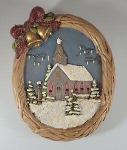 Vintage Hand Painted Ceramic Christmas Winter Scene Plaque Glitter Snow
