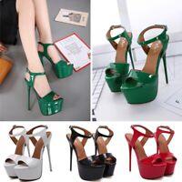 Women's Faux Leather Platform Shoes Peep Toe Banquet Party Stiletto Heels Shoes